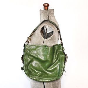 Vintage Coach Green Patent Leather Hobo Bag
